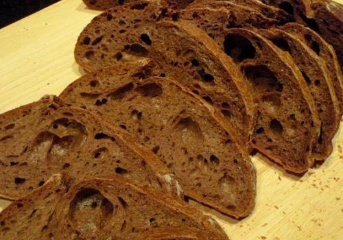 (66a) crumb of Cocoa Honey Sourdough