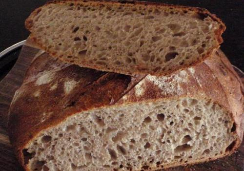 (67) Miche with 3% Teff 3% Spelt 3% Rye 3% Buckwheat and Four Leaf's 85% Light Flour, June 2010